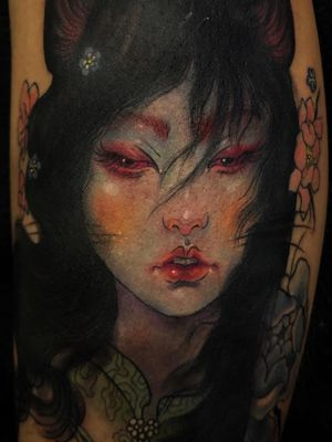 Tattoo by Aimee Cornwell #AimeeCornwell #ladyheadtattoos #ladyheadtattoo #ladyhead #lady #portrait #woman #beauty #neotraditional #painterly #oilpainting #beauty #flower #floral #Japanese
