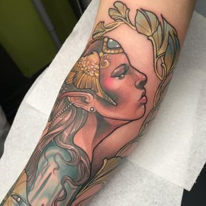 Tattoo by Chrissy Hills #ChrissyHills #ladyheadtattoos #ladyheadtattoo #ladyhead #lady #portrait #woman #beauty #neotraditional #color #mermaid #wings #jewelry #pearls