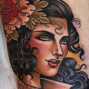 Tattoo by Guen Douglas #GuenDouglas #ladyheadtattoos #ladyheadtattoo #ladyhead #lady #portrait #woman #beauty #color #neotraditional #flower #floral #peony