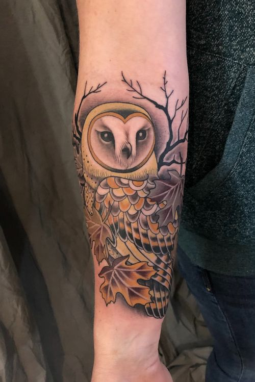 #barnowl #owl #leaves #neotraditional #color #DarcyNutt #chalicetattoo