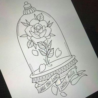 Love. #fairytale #beautyandthebeast #rose #disney #sketch #linework #sketchstyle #lovers #ArtistUnknown