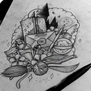 Yeah! #harrypottertattoo #harrypotter #hogwartsletter #felixfelicis #timeturner #wand #magic #flowers #fantasy #hogwarts #witchcraft #blackandgreytattoo #illustration #lineworktattoo #linearttattoos #goldensnitch #ring #drawing #sketchstyle #ArtistUnknown