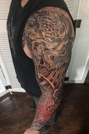 #sleeve #tattooart #pheonix #spidermum #flowertattoo #flower #blackandgreytattoo