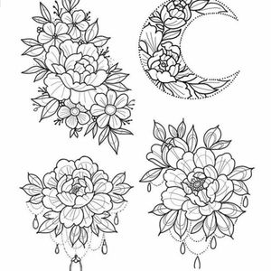 Beauty.  #flowers #moon #lines #sketch #dotwork #lineart #outlines #nature #pearls #art #collection #ArtistUnknown