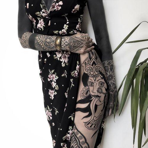 Tattoo by Nos Tattoos #NosTattoos #Kalitattoos #kalithedestroyer #goddessKali #Hindu #HinduGoddess #deity #blackwork #linework #dotwork #ornamental #crown #thirdeye #jewels