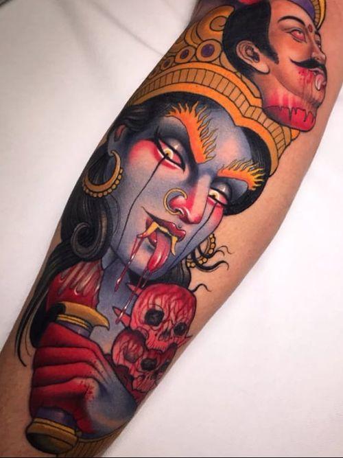 Tattoo by Yonmar #Yonmar #Kalitattoos #kalithedestroyer #goddessKali #Hindu #HinduGoddess #deity #color #skull #death #blood #crown #neotraditional