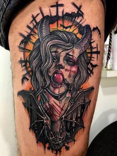 Tattoo by Krystal / #neotradi#neotraditional#newschool#bat#girl#txttoo