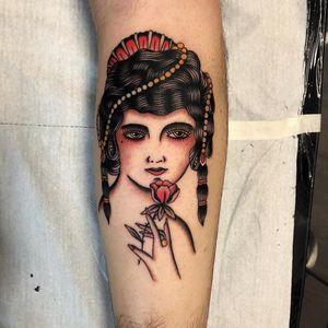 Tattoo by Joe Tartarotti #JoeTartarotti #traditionaltattoo #traditional #color #Italy #italiantattooartist #portrait #ladyhead #rose #flower