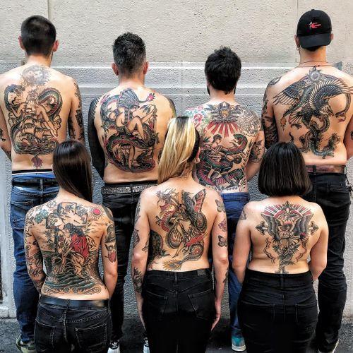 Tattoo by Joe Tartarotti #JoeTartarotti #traditionaltattoo #traditional #color #Italy #italiantattooartist #backpieces #backtattoo
