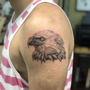 Single needle Eagle #eagletattoo #eagle #singleneedle #singleneedletattoo #blackandgrey #tattooartist #Tattoodo #TattoodoApp
