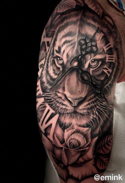 🐅 Tiger by @emink_tattoo Don at @officinatattoomilano Info & Booking: eminktattoo@Gmail.com . Prossime date per Milano : aprile/maggio . #eminktattoostudio #eminktattoo #emink #milanotattoo #officinatattoomilano #officinatattoo #tattooworld #lion #tiger #tigertattoos #tigertattoo #clocktattoo #clock #dolarrose #realistictattoo #tattoovideo #chicanotattoo #chicanoart #chicano #blackandgray #blcakandgreytattoo #flowers #rise #rosetattoo #roserosse #flowertattoo #vicenza #vicenzatattoo #vicenzatattoostudio