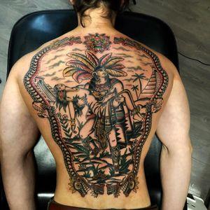 Tattoo by Joe Tartarotti #JoeTartarotti #traditionaltattoo #traditional #color #Italy #italiantattooartist #lady #Mayan #Aztec #pyramids #warrior #backpiece