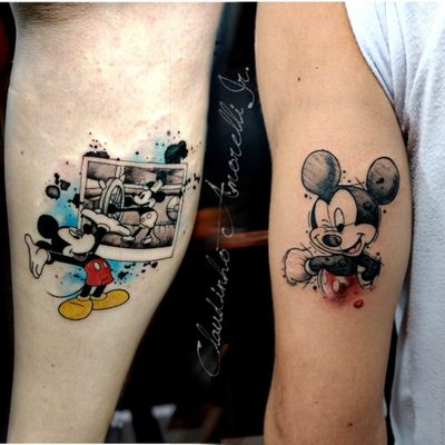 Mickey ♥️ #aquarela #watercolor #sketch #tattoo #tatuagem #nerd #geek #fineline #mickey #disney #personagens #desenho #cartoon #art #arte