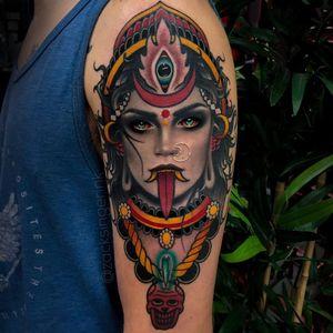 Tattoo by zacksingerink #zachsingerink #zachsinger #Kalitattoos #kalithedestroyer #goddessKali #Hindu #HinduGoddess #deity #color #blackandgrey #portrait #realism #realistic #mashup #skull #thirdeye #crown