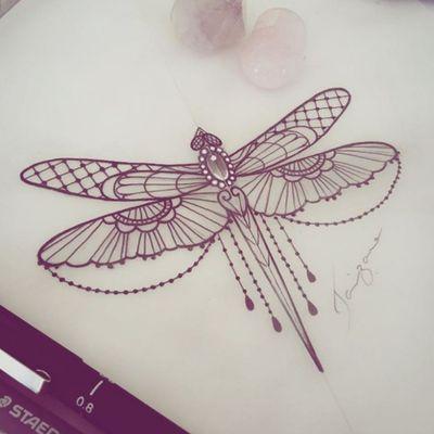 #So pretty! #ornament #Libelle #dragonfly #dragonflytattoo #diamondtattoo #mandalatattoo #design #tattooforgirls #girlytattoo #sweet #beautifultattoo #sketchstyle #illustration #ArtistUnknown