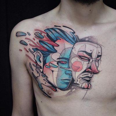 Tattoo by Kati Berinkey #KatiBerinkey #besttattoos #favoritetattoos #uniquetattoos #specialtattoos #tattoosformen #tattoosforwomen #mask #portrait #illustrative #neotraditional #chesttattoo