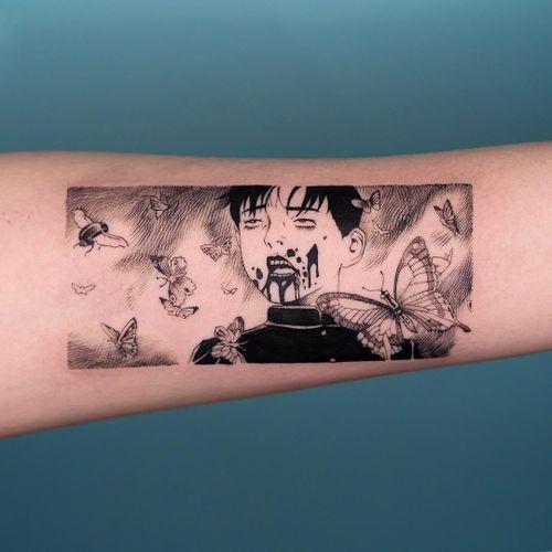 Tattoo by Oozy #Oozy #besttattoos #favoritetattoos #uniquetattoos #specialtattoos #tattoosformen #tattoosforwomen #anime #manga #suehiromaruo #butterfly #blood
