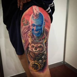 Gardiens of the galexy colour realism tattoo on thigh.