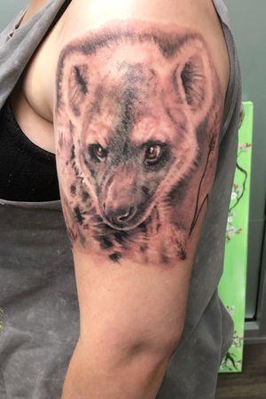 Black and grey Hyena. #hyenatattoo #blackandgreyrealism #Hyena