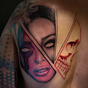 Abstract fucked and hella dope...#color #colortattoo #colorportrait