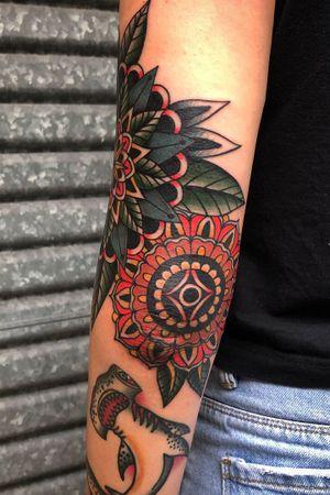 Elbow mandalas for tori flash #bold #trad #traditional #traditionaltattoo #tattooartist #tattooart #bold #BoldTattoos #boldwillhold #classictattoos #vintage #goldcoastaustralia #australia