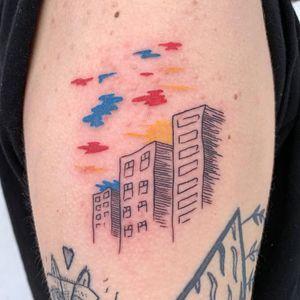 Tattoo by Issac aka Zik Tats #Issac #ZikTats #besttattoos #favoritetattoos #uniquetattoos #specialtattoos #tattoosformen #tattoosforwomen #buildings #landscape #sky #sunset #rainbow #illustrative