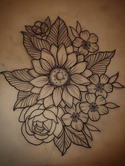FlowerPower. #flowerpower #flowertattoo #flowers #flower #blossoms #blossomtattoo #naturetattoo #garden #sunflower #sketchbook #sunflowertattoo #cherryblossomtattoo #rose #rosetattoo #eternalink #sketch #tattoodesign #tattooink #illustration #sketchstyletattoo #lineworktattoo #linework #blackline #outline #fineart #finelinetattoo #feminine #girlytattoos #girl #floral #floraltattoo #blossoms #floralart #flora #stunningart #beautifulflowers #inspiration #unknownartist #ArtistUnknown