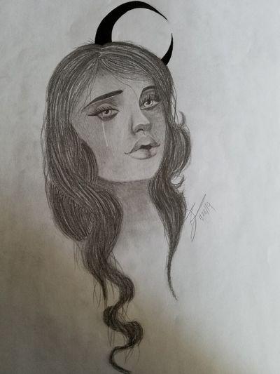 #girl #people #moon #space #pencilart #pencildrawing