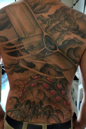 . . . . . . . . . . . . #backpiece #backtattoo #tattoo #tattoos #tattooart #animetattoo @animemasterink @anime.gamer.league #animegamerleague #anime #manga #mangatattoo #studioghibli #ghibli #ghiblitattoo #hayaomiyazaki #nausicaa #blackandgrey #blackandgreytattoo