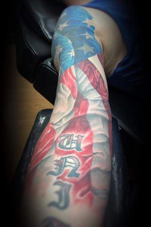 American Flag Full Arm Sleeve Work Still In Progress