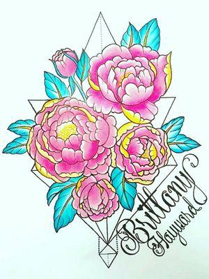 #peonies #peonytattoo #flowertattoo #flowers #pinkflower #geometric #geometrictattoo #brittanyhayward