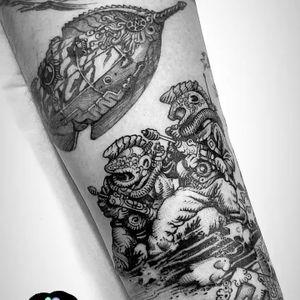 • Hemingway and Verne • Sleeve in Progress • #tattoo #ink #hemingway #julioverne #engraving #taniamaia