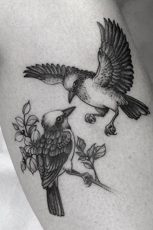 • Memorial tattoo • #birds #memorialtattoo #linework #blackwork #birds #fineline