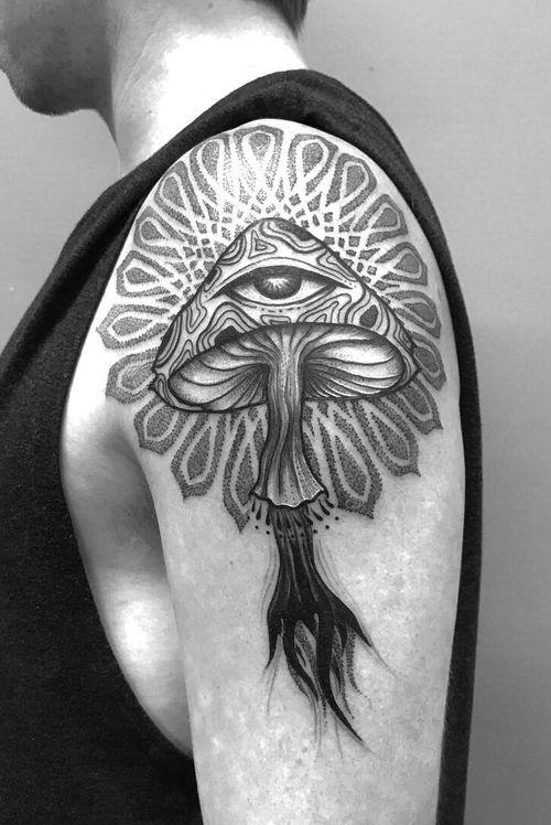 Psychedilc mushroom, the start of a sleeve, done during my guest spot at Dr Morse Tattoo in Wellington NZ #mushroom #mandala #dotwork #dotworkmandala #psychedelic