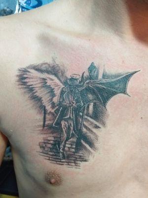 Angel or Demon? #angeltattoo #demontattoo #Gentlemantattoo #citytattoo #blackAndWhite