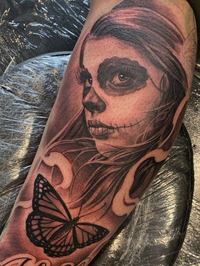 Started a half sleeve the other day. Cant wait to finish #dayofthedead #tattoo #bishoprotary