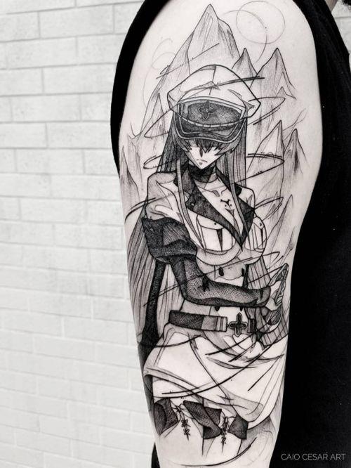 Esdeath 🖤 . . Agendamentos e orçamentos pelo email : caiocesar.art@gmail.com Coletivo Levarte ▪️ ______________________ . . . . #akamegakill #geekwork #instaart #art #anime #artista #tattooartists #blackwork #geek #blacktattoo #blackworkerssubmission #uchiha #nerd #blacktattooartists #tattoo #tattooistartmag #tatuagemsp #tattooist #narutoshippuden #tattooinkspiration #tattooink #equilattera #tattoo2me #tattooink #geeks #tattoosp #esdeath #geektattoo #blxckwork #tatuagem