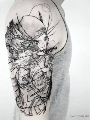 Sylvanas Windrunner . . Agendamentos e orçamentos pelo email : caiocesar.art@gmail.com Coletivo Levarte ▪️ ______________________ . . . . #worldofwarcraft  #geekwork #instaart #art #anime #artista #tattooartists #blackwork #geek #blacktattoo #blackworkerssubmission #uchiha #nerd #blacktattooartists #tattoo #tattooistartmag #tatuagemsp #tattooist #narutoshippuden #tattooinkspiration #tattooink #equilattera #tattoo2me #tattooink #geeks #tattoosp #Warcraft  #geektattoo #blxckwork #tatuagem