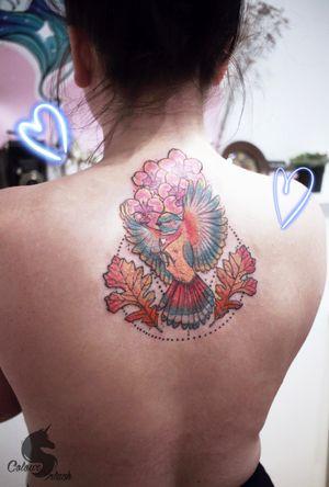 Still red and swollen, but bird it is 🌸 #art #mbyn #coloursplashtattoo #floral #feminine #girltattooer #canadatattoo #winnipegtattoo