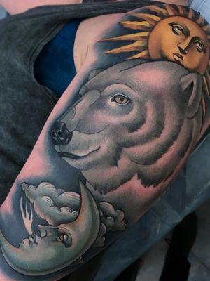 Tattoo by Jasmine Worth #JasmineWorth #cutetattoos #cutetattoo #cute #color #neotraditional #polarbear #moon #sun #nature #sky