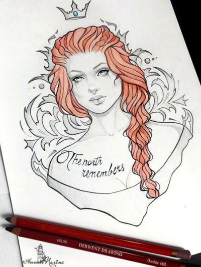 Queen in the north. Lady Sansa. @annamarine #thenorth #thenorthremembers #sansastark #sansa #gameofthrones #gameofthronestattoo #got #asongoficeandfire #iceandfire #north #queen #queeninthenorth #lady #ladysansa #westeros #grrm #redhead #redhair #game #forthethrone #remember #tribal #womantattoo #womanportrait #character #portrait #portraittattoo #fantattoo #fantasytattoo #fantasy #book #bookworm #geektattoos #nerdy #girl #fangirl #sketch #sketchwork #tattoodesign #tattooillustration #illustration #design #blackandgrey #blackandredtattoo #blackandred #shading #shades #lines #lineart #beautiful #amazingink #littlebird #wolf #northern #princess #princesstattoo