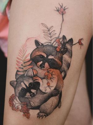 Tattoo by Dzo Lama #DzoLama #cutetattoos #cutetattoo #cute #color #illustrative #raccoon #animal #nature #berries