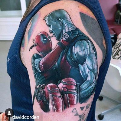 So cool! :D Deadpool and Colossus By David Corden #MarvelTattoo #marvel #superhero #killerink #Deadpool #deadpooltattoo #xmen #XMenTattoo #mutant #mutanttattoo #deadpoolmovie #movietattoos #moviecharacter #moviescene #scene #marvelgeek #geektattoo #geeklife #armtattoo #nerdy #nerdtattoo #superheroes #Colossus #metal #metallic #strongman #fantastic #sogorgeous #realistic #funnytattoo #amazingink #amazingartist #loveit #undead #neverdie #unbreakabletattoo #unbreakable #killerinktattoo #shine #redink #silverink #inyourarms #instatattoo #cooltattoo #stanlee #marvelcomics #marveltheme #marveluniverse #marvelsleeve