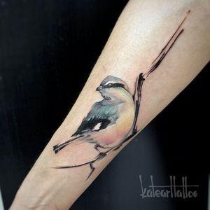 Tattoo by Kate Sergeeva #KateSergeeva #openbookings #cooltattoos #bird #sparrow #watercolor #painterly