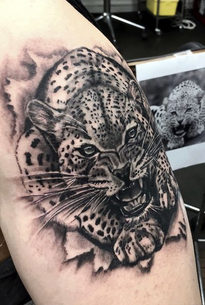 #blackandgrey #panther #realism #realistic #realismo #realismtattoo #guepard #leopard