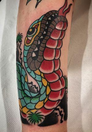 Freehand trad japanese snake! #japanesetattoo #japanese #traditional #freehand #color