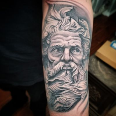 Touched this one up, I did this about four years ago on the homie. #portraittattoo #statuetattoo #moses #ianvansart #blackworktattoo #blackandgreytattoo #blackwork #realismtattoo #realistic #inkeeze #inkedmag #bishoprotary #neptune #tattoosofinstagram #inkstagram