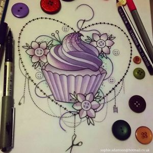 So sweet. By Sophie Adamson. #cupcake #cupcaketattoo #floraltattoo #floral #flowers #heart #violet #lilac #cupcaketattoos #sweets #sweetytattoo #cute #cutetattoo #neotraditional #neotraditionaltattoo #neotrat #design #illustration #girlytattoo #dotwork #fineline #dots #sparkly #sparkles #cake #muffin #bakery #baker #baking #girl #ladytattoo #sweetone #special #tattooillustration #sketch #sketchbook #girlytattoo #femaletattooartist #lovely #sweetcupcakes