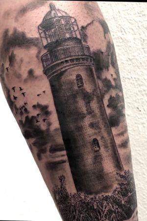 @green_pearl_tattoo #lighthouse #coast #clouds #birds #melfortat #braunschweigtattoo #greenpearltattoo #tattoo #tattoos #tttism #ink #inked #bnginksociety #tattoolife #tattoolovers #inkstagram #blackandgreyrealism #tattoooftheday #Braunschweig #tattoodesign #inkjunkeyz @realistic.ink @realistic.tattooos