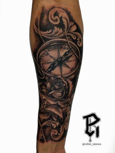 For Bookings email at robinstattoos@gmail.com . . . . . . . . . . . . #blackandgreytattoo #newjerseytattoos #newjersey #realism #realismtattoo #nyc #nyctattoo #tattooartist #rosetattoo #compasstattoo